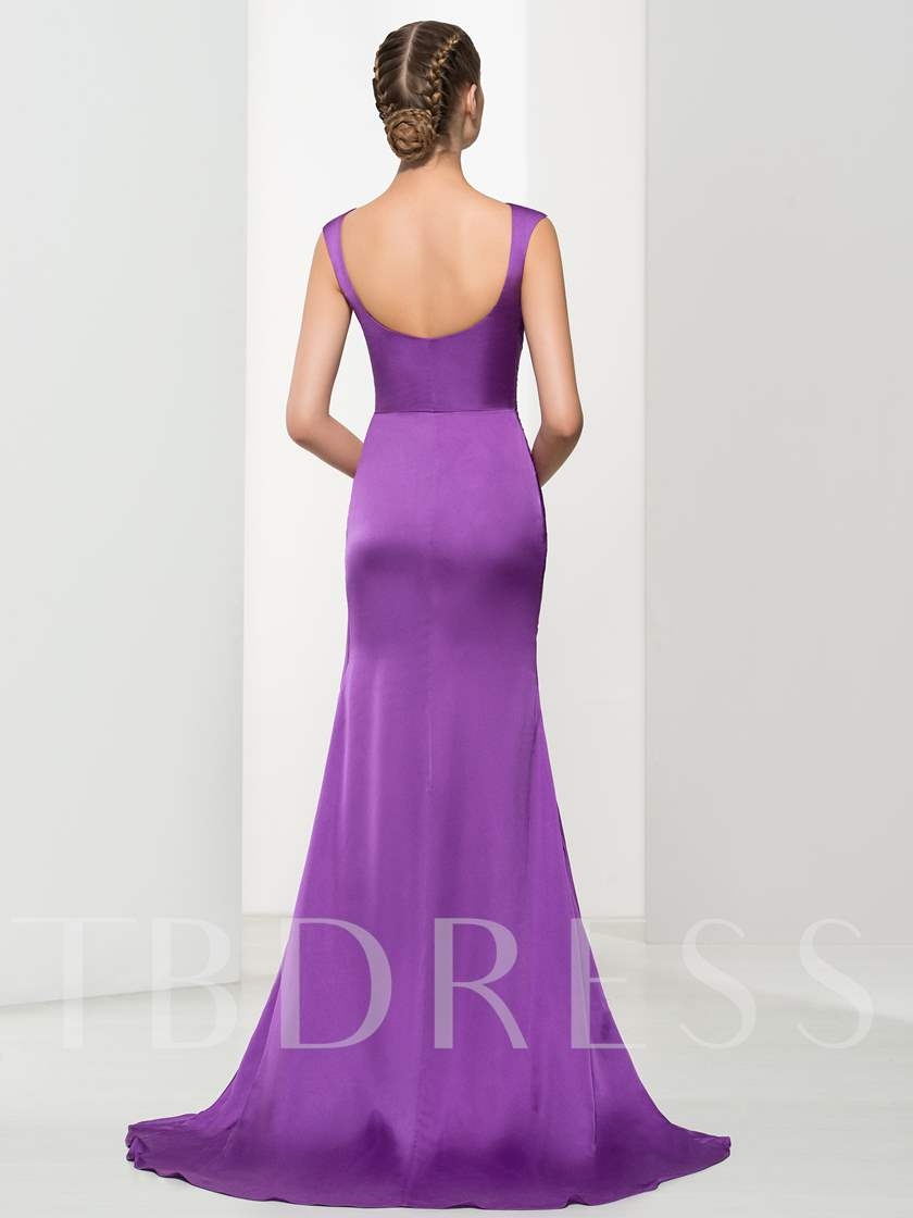 Ruches Beaded Court Train Sheath Evening Dress
