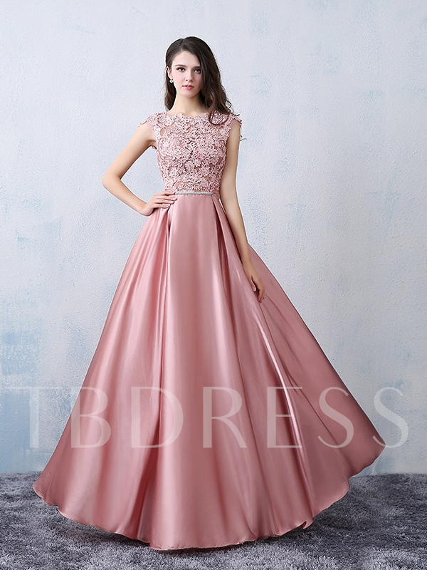 Lace Appliques Cap Sleeve Bowknot Prom Dress