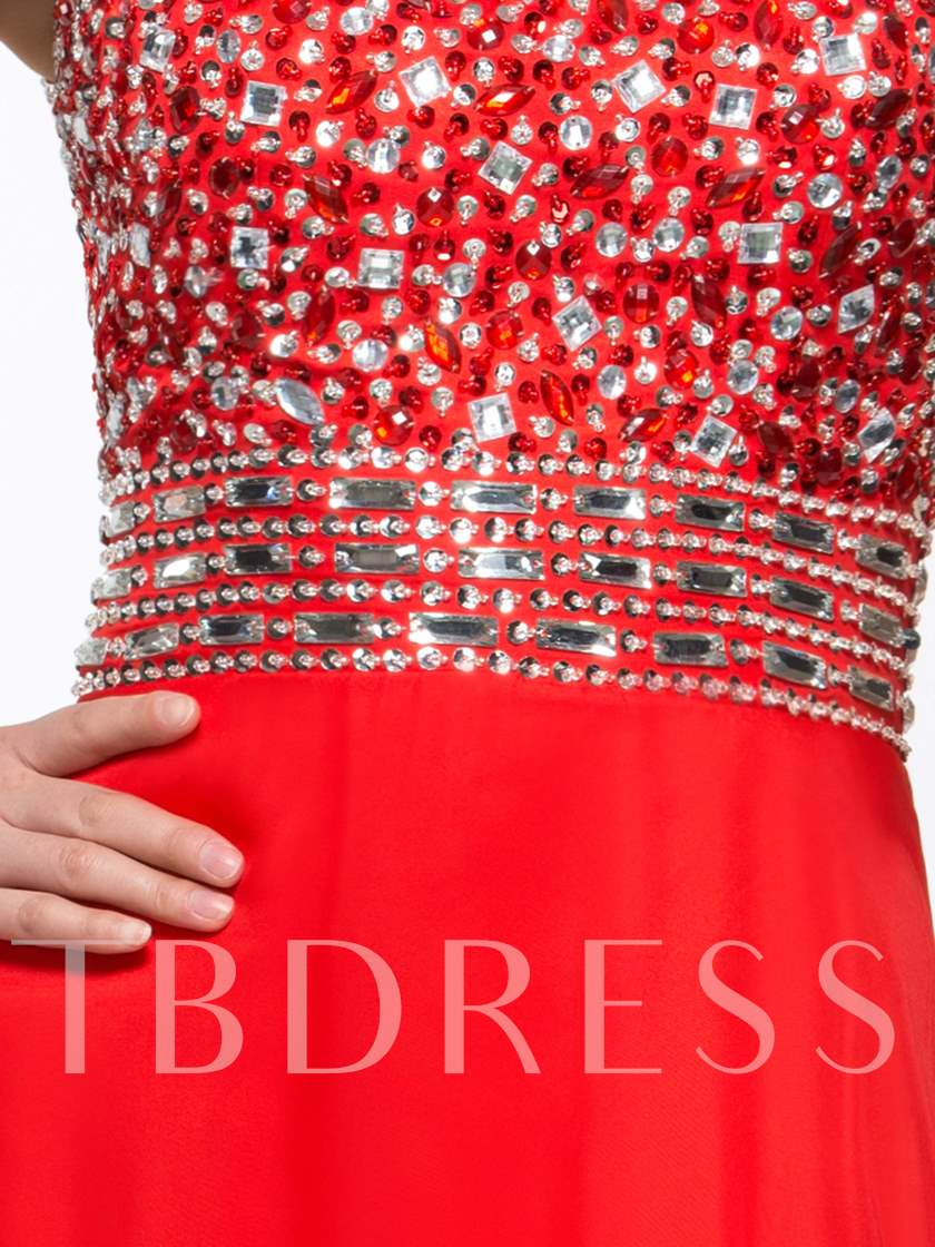 A-Line Side-Split Open Back Beaded Long Prom Dress