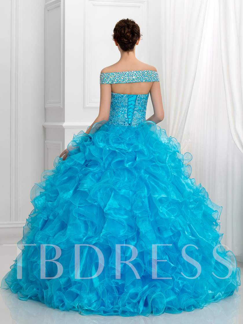 Off-the-shoulder Cascarding Ruffles Quinceanera Dress