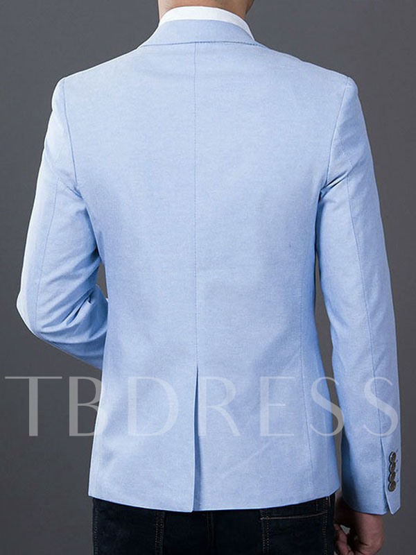 Notched Collar One Button Slim Fit Casual Men's Blazer