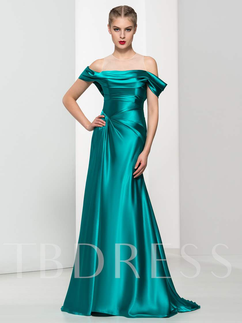 Sheer Neck Ruches Sheath Long Evening Dress