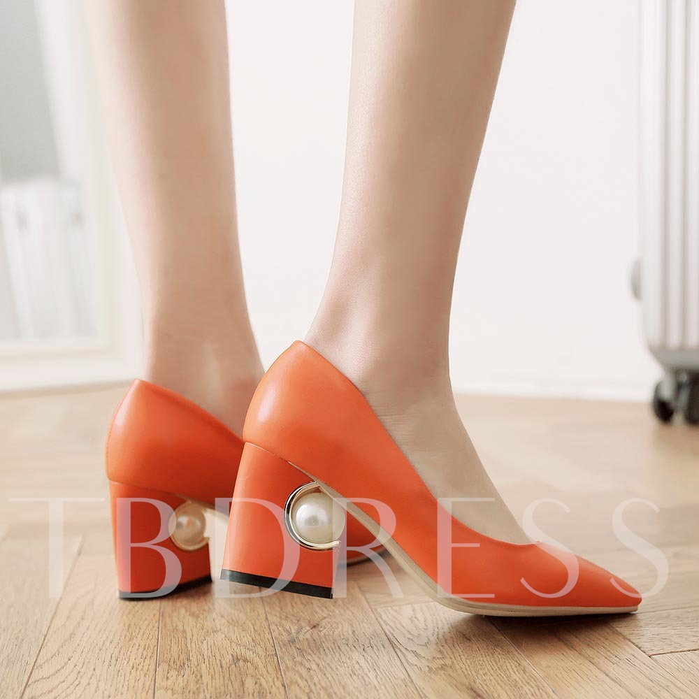 Pointed Toe Chunky Heel Slip-On Bead Plain Women's Pumps