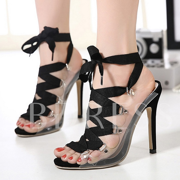 Open Toe Cross Strap Stiletto Heel Women's Sandals