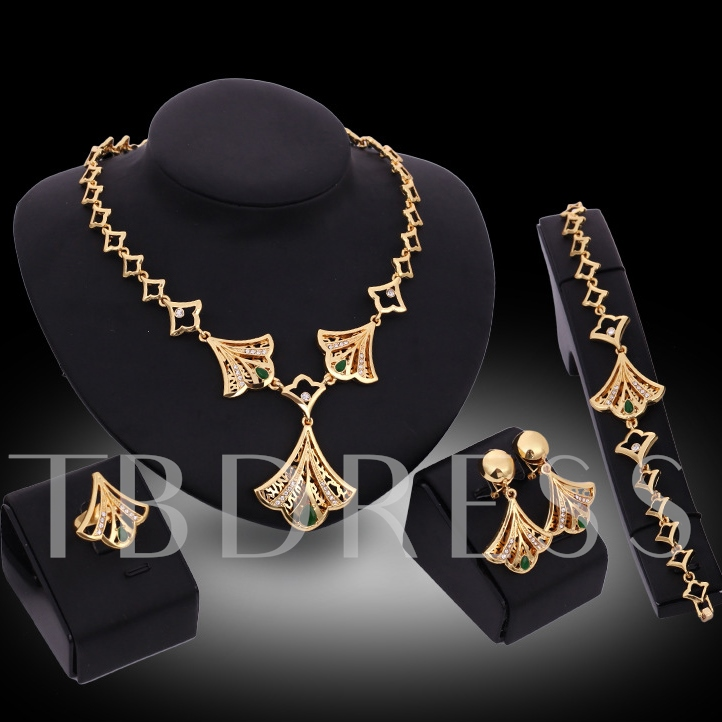 Golden Fan Four-Piece Jewelry Set