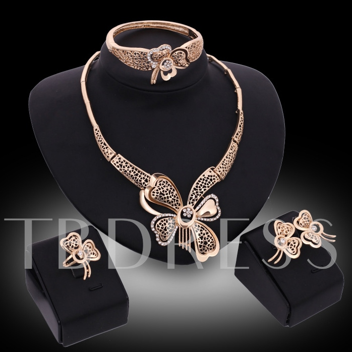 Hollow Out Flowers Golden Four-Piece Jewelry Set