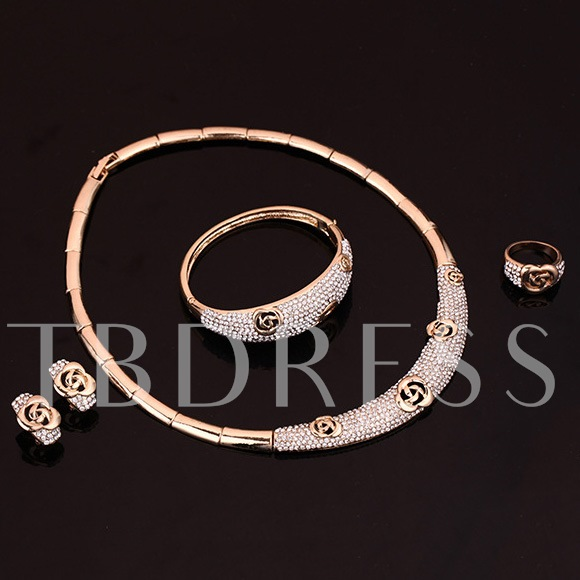 Roses Alloy Four-Piece Jewelry Set
