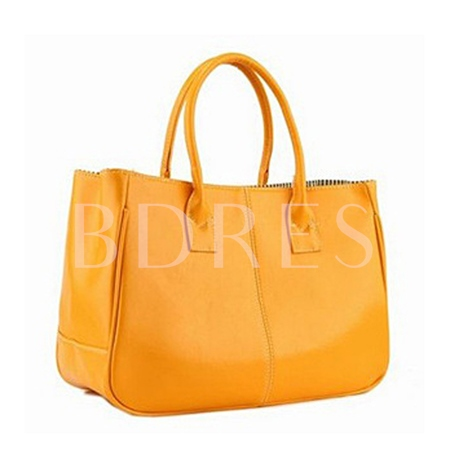 Candy Color PU Tote Bag