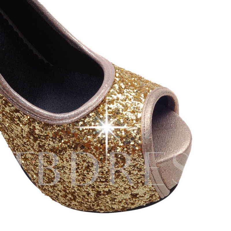 Stiletto Heel Slip-On Platform Sequins Women's Pumps