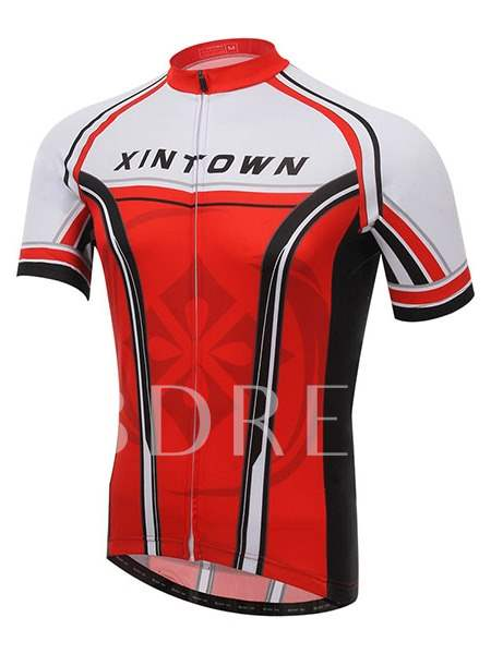 Colored Body Side Striped Short Sleeve Cycling Jersey