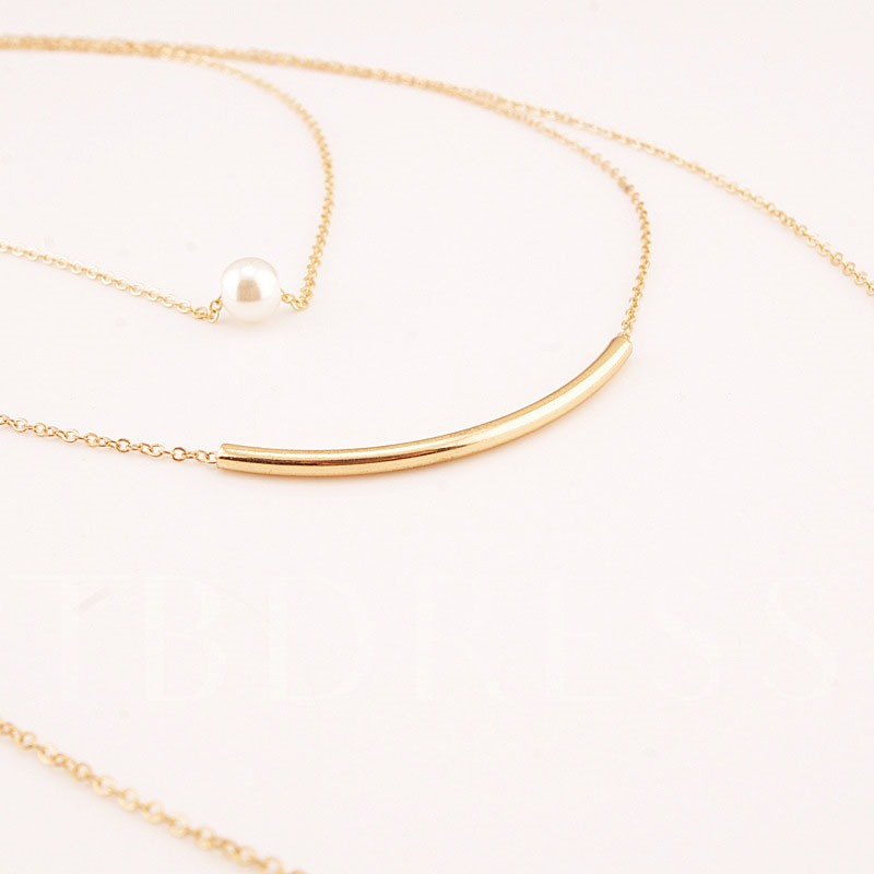 Pearl Bend Metal Multilayer Necklace