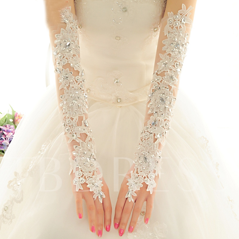 Sheer Lace Beading Fingerless Long Wedding Gloves