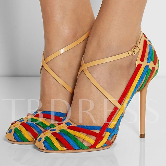 Round Toe Contrast Color Buckle Stiletto Heel Women's Sandals
