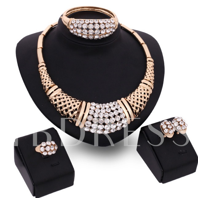 Multicolor Zircon Alloy Four-Piece Jewelry Set