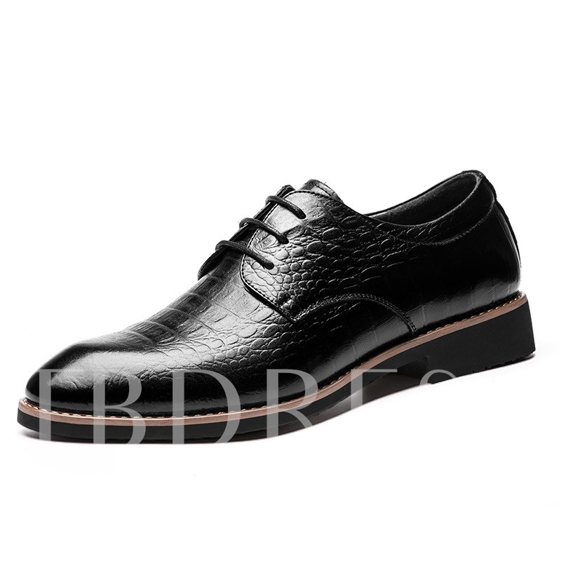 Square Heel Pointed Toe Cross Strap Plain Men's Oxfords
