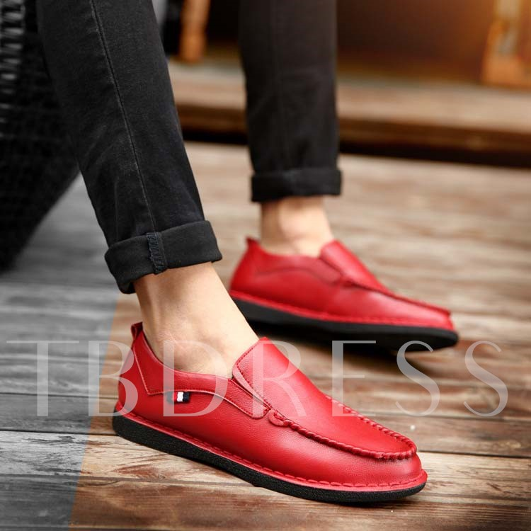 Square Toe Low-Cut Upper Slip-On Flat Heel Men's Loafers