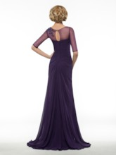 Half Sleeve Sequins Appliques Pleated Long Mother of Bride / Groom Dress
