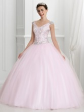 V-Neck Beaded Pearl Pink Quinceanera Dress