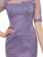 Sheath Appliques Short Sleeves Mother of the Bride Dress
