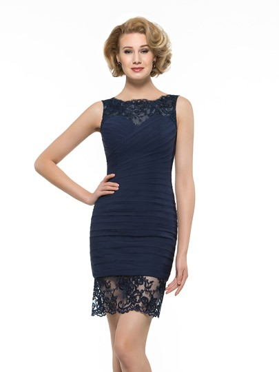 Modern Lace Chiffon Short Mother of Bride / Groom Dress