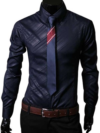 Lapel Striped Men's Long Sleeve Shirt
