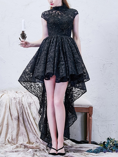 A-Line Asymmetric Length Lace Cocktail Dress