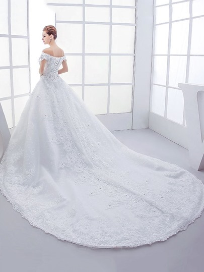 Off-The-Shoulder Chapel Train Appliques Beading Bridal Gown