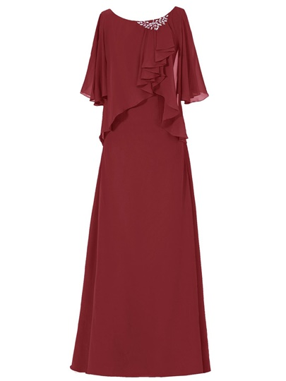 Scoop Neck Rhinestone Chiffon Floor-Length Mother of the Bride Dress