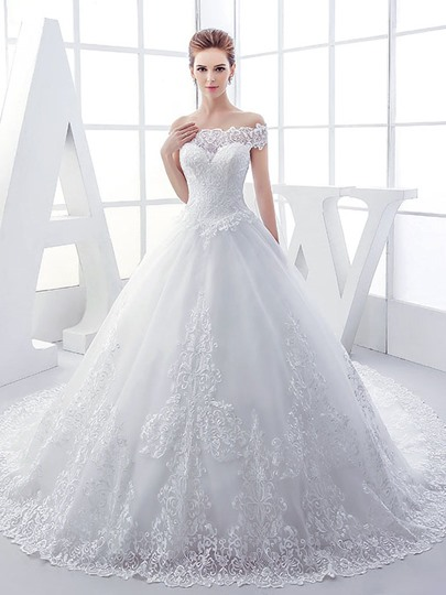 Off The Shoulder Lace Appliques Ball Gown Wedding Dress Off The Shoulder Lace Appliques Ball Gown Wedding Dress
