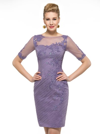 Short Pleated Tulle Appliques Sheath Mother of the Groom Dress
