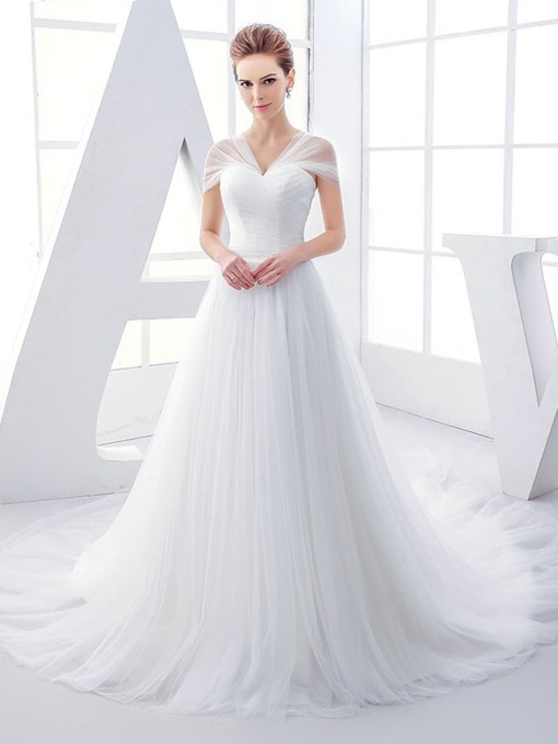 Cap Sleeves Pleats Lace-Up Wedding Dress