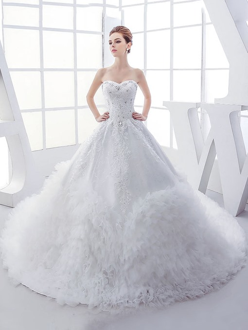 Beaded Bodice Cascading Ruffles Ball Gown Wedding Dress