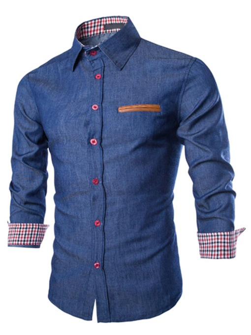Lapel Fine Plaid Decorated Slim Men's Denim Shirt