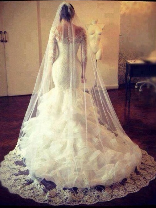 Tiered Ruffles Lace Mermaid Wedding Dress with Long Sleeve