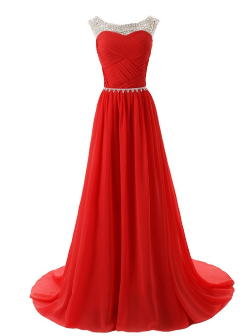 Rhinestone Beading A-Line Pleated Chiffon Long Bridesmaid Dress