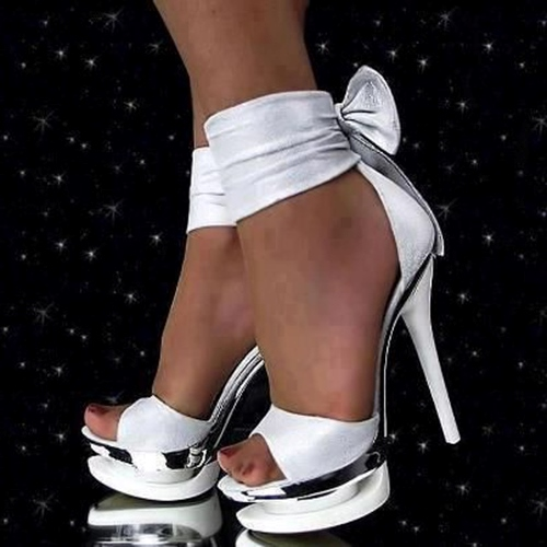 Lace-Up Plain Platform Fancy Stiletto Heel Sandals for Wedding