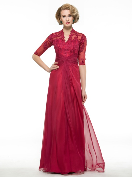 V-Neck Appliques Half Sleeves Mother of the Bride Dress
