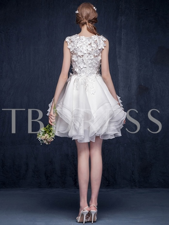 Flower Appliques A-Line Short / Mini Garden Wedding Dress