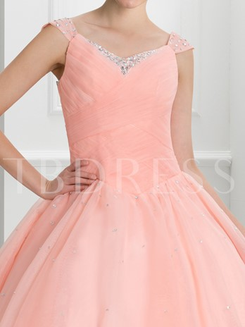Sweetheart Ruched Ball Gown Beaded Floor-Length Quinceanera Dress