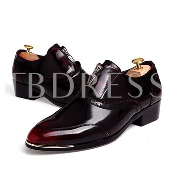 Sequins Square Heel Pointed Toe Cross Strap Men's Oxfords