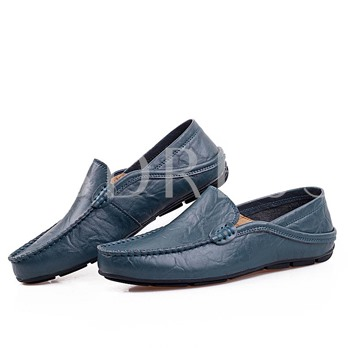 Round Toe Flat Heel Low-Cut Upper Plain Slip-On Men's Loafers
