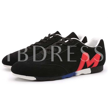 Round Toe Contrast Color Flat Heel Lace-Up Front Men's Sneakers