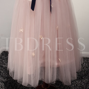 Straps A-Line Bow Lace Pearls Tea-Length Prom Dress