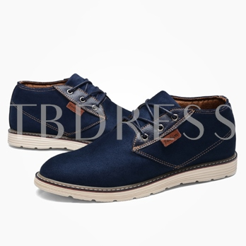 Flat Heel Round Toe Color Block Lace-Up Front Men's Oxfords