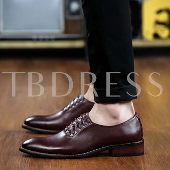 Pointed Toe Low-Cut Upper Square Heel Lace-Up Front Men's Oxfords