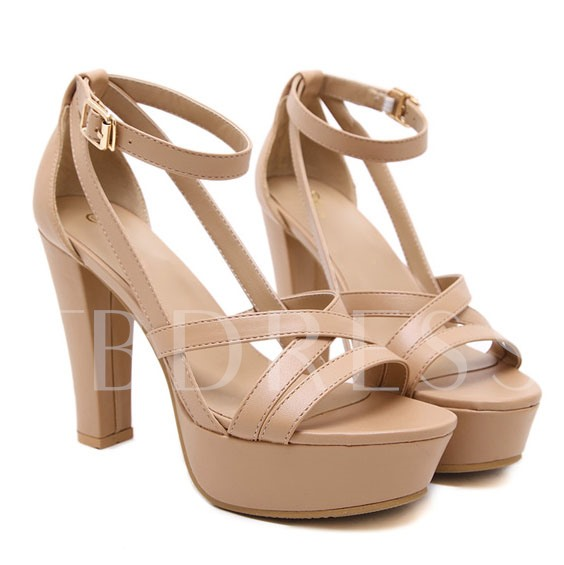 Open Platform Cross Strap Buckle Chunky Heel Women's Sandals