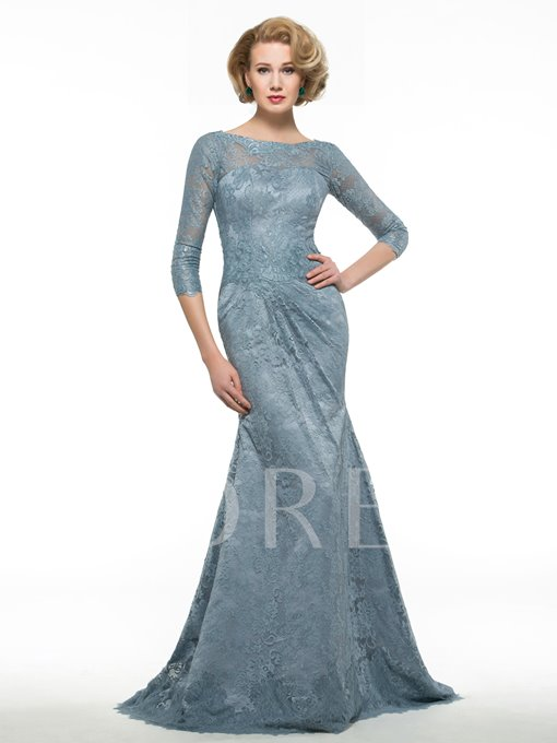Bateau Neck Lace Mermaid Mother of the Bride Dress