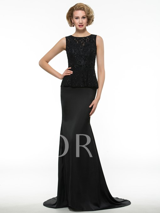 Keyhole Back Lace Satin Chiffon Mermaid Mother of Bride Dress