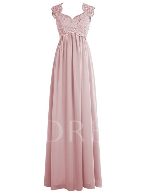 Keyhole Back Empire Waist A-Line Chiffon Lace Bridesmaid Dress