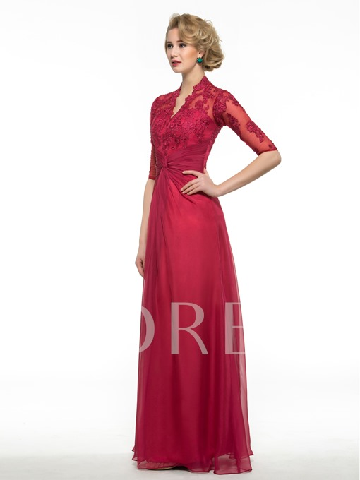 Half Sleeve V-Neck Appliques Mother of Bride Dress